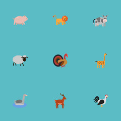 Flat Icons Mutton, Gobbler, Kine And Other Vector Elements. Set Of Animal Flat Icons Symbols Also Includes Waterbird, Cock, Pig Objects.