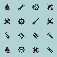 Set Of 16 Editable Service Icons. Includes Symbols Such As Handle Hit, Instrument, Wrench Hammer. Can Be Used For Web, Mobile, UI And Infographic Design.