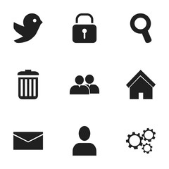 Set Of 9 Editable Network Icons. Includes Symbols Such As Dove, Gear, Recycle Bin And More. Can Be Used For Web, Mobile, UI And Infographic Design.