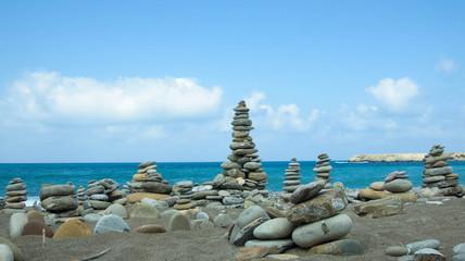 Stones pile on sea