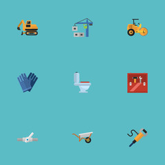Flat Icons Pipeline Valve, Handcart, Tractor Vector Elements. Set Of Construction Flat Icons Symbols Also Includes Pneumatic, Work, Gloves Objects.