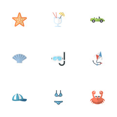 Flat Icons Car, Conch, Fly And Other Vector Elements. Set Of Beach Flat Icons Symbols Also Includes Cabriolet, Car, Drink Objects.