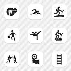 Set Of 9 Editable Sport Icons. Includes Symbols Such As Healthy Food, Sportsman, Training Bicycle And More. Can Be Used For Web, Mobile, UI And Infographic Design.
