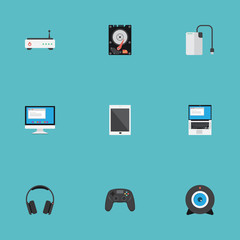 Flat Icons Palmtop, Hard Disk, Display And Other Vector Elements. Set Of Computer Flat Icons Symbols Also Includes Camera, PC, Wifi Objects.