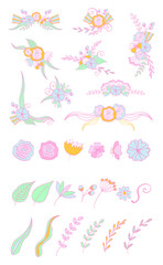 Set of doodle floral bouquets and compositions. Vector illustration.
