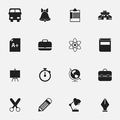 Set Of 16 Editable Education Icons. Includes Symbols Such As Literature, Nib, Cutting And More. Can Be Used For Web, Mobile, UI And Infographic Design.
