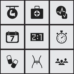Set Of 9 Editable Complex Icons. Includes Symbols Such As Group, Belly, First Aid Box And More. Can Be Used For Web, Mobile, UI And Infographic Design.