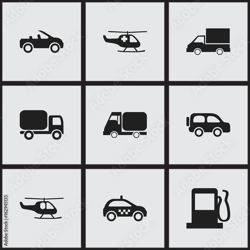 Set Of 9 Editable Transportation Icons Includes Symbols Such As