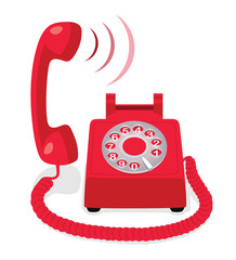 Red stationary phone with rotary dial and raised handset