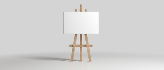 Wooden Brown Sienna Easel with Mock Up Empty Blank Canvas Isolated on Background 3d rendering