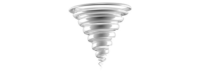 3d rendering of tornado with reflection isolated on white