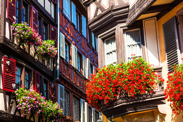 Fototapete - Floral traditional town Colmar in Alsace region. France