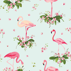 Canvas Prints Flamingo Flamingo Bird and Tropical Orchid Flowers Background. Retro Seamless Pattern in vector