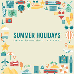 Summer holidays background with travel icons. Vector