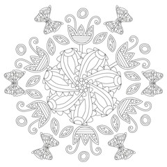 Coloring book page for adults and kids in doodle style. Vector artwork. Good for art therapy, zentangle-style meditation and design of wrapping and textile.