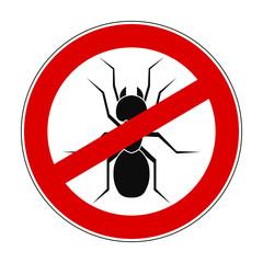 Sign ban anti ant - stock vector