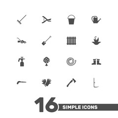 Set Of 16 Horticulture Icons Set.Collection Of Lawn Mower, Fence, Garden And Other Elements.