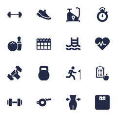 Set Of 16 Bodybuilding Icons Set.Collection Of Slimming, Basin, Dumbbell And Other Elements.