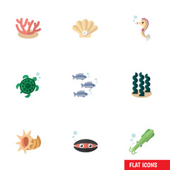 Flat Icon Sea Set Of Tuna, Tortoise, Conch And Other Vector Objects. Also Includes Mollusk, Conch, Seafood Elements.
