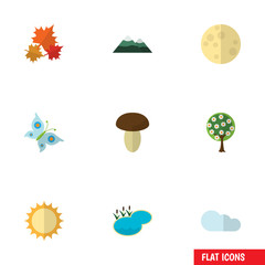 Flat Icon Bio Set Of Tree, Peak, Lunar And Other Vector Objects. Also Includes Pinnacle, Flower, Overcast Elements.