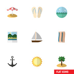 Flat Icon Season Set Of Wiper, Yacht, Parasol And Other Vector Objects. Also Includes Ocean, Yacht, Anchor Elements.