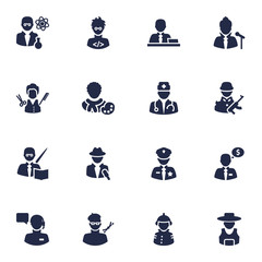 Set Of 16 Position Icons Set.Collection Of Fireman, Actor, Rancher And Other Elements.