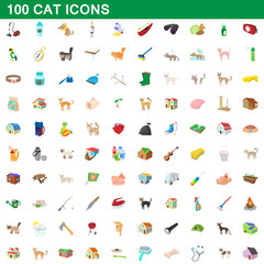 100 cat icons set, cartoon style