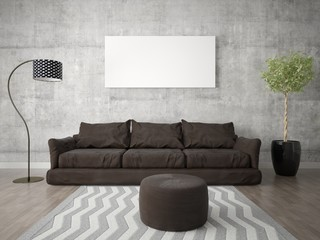 Mock up poster living room with trendy modern sofa on hipster background.