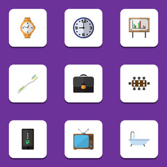 Flat Icon Lifestyle Set Of Television, Dental, Whiteboard And Other Vector Objects. Also Includes Conference, Watch, Cellphone Elements.