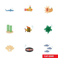 Flat Icon Sea Set Of Tortoise, Seashell, Seaweed And Other Vector Objects. Also Includes Scallop, Underwater, Seashell Elements.