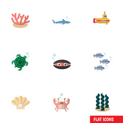 Flat Icon Sea Set Of Tortoise, Conch, Cancer And Other Vector Objects. Also Includes Turtle, Fish, Sea Elements.