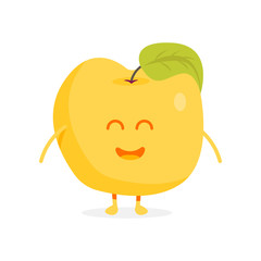 Cute apple fruit characters with faces and hands vector illustration
