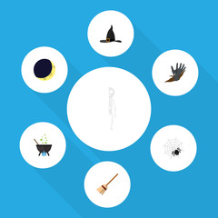 Flat Icon Festival Set Of Zombie, Spinner, Witch Cap And Other Vector Objects. Also Includes Magic, Crescent, Boiling Elements.