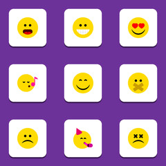 Flat Icon Emoji Set Of Wonder, Smile, Love And Other Vector Objects. Also Includes Sad, Sing, Eyes Elements.