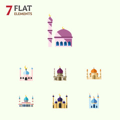Flat Icon Minaret Set Of Traditional, Islam, Religion And Other Vector Objects. Also Includes Religion, Building, Mosque Elements.