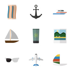 Flat Icon Season Set Of Wiper, Boat, Surfing And Other Vector Objects. Also Includes Foto, Wiper, Eyeglasses Elements.
