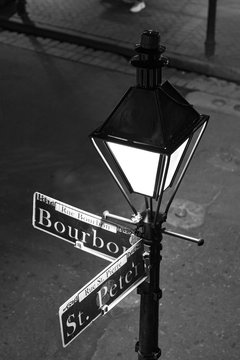 Corner Street Signs at Bourbon Street and St. Peter Street in New Orleans
