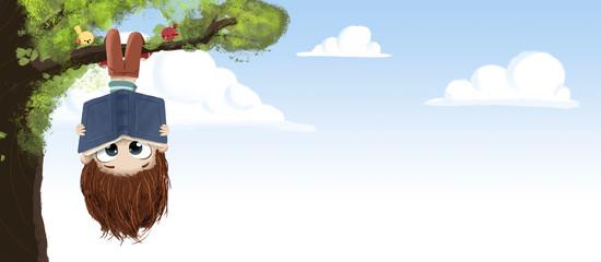 Niño leyendo un libro en un arbol