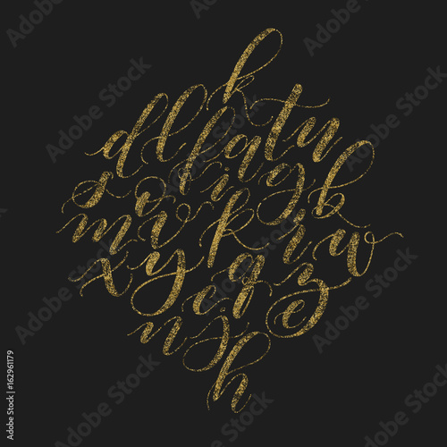 Handwritten beautiful elegant vector golden glitter calligraphy handwritten beautiful elegant vector golden glitter calligraphy alphabet bush font lower cases cursive script on thecheapjerseys Images