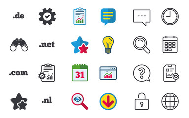Top-level internet domain icons. De, Com, Net and Nl symbols. Unique national DNS names. Chat, Report and Calendar signs. Stars, Statistics and Download icons. Question, Clock and Globe. Vector