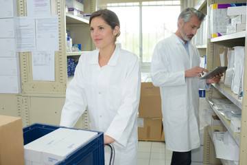 smiling pharmacist and pharmacy technician in drugstore