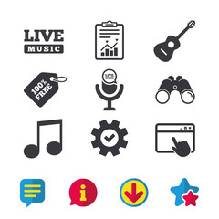 Musical elements icons. Microphone and Live music symbols. Music note and acoustic guitar signs. Browser window, Report and Service signs. Binoculars, Information and Download icons. Stars and Chat