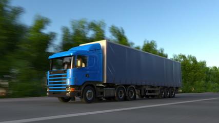 Speeding freight semi truck. Road cargo transportation. 3D rendering
