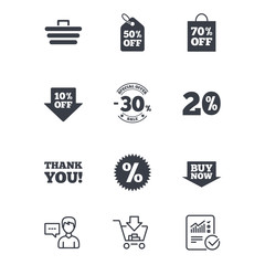 Sale discounts icon. Shopping cart, coupon and buy now signs. 20, 30 and 50 percent off. Special offer symbols. Customer service, Shopping cart and Report line signs. Online shopping and Statistics