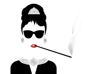 portrait retrò woman, diva with cigarette holder and Pearl jewelry , minimal Audrey vector illustration