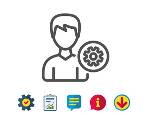 User settings line icon. Profile Avatar with cogwheel sign. Male Person silhouette symbol. Report, Service and Information line signs. Download, Speech bubble icons. Editable stroke. Vector