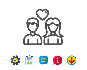 Couple with Heart line icon. Users Group sign. Male and Female Person silhouette symbol. Report, Service and Information line signs. Download, Speech bubble icons. Editable stroke. Vector