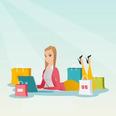 Young caucasian woman doing online shopping.