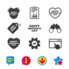 Happy Mothers's Day icons. Mom love heart symbols. Flower rose sign. Browser window, Report and Service signs. Binoculars, Information and Download icons. Stars and Chat. Vector