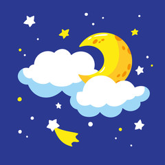 Cartoon crescent and clouds in the night sky. Vector illustration is suitable for greeting cards and prints on t-shirts.